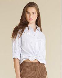 Veronica Beard White Keiko Striped Button-down Shirt