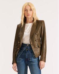 Veronica Beard Green Cooke Leather Dickey Jacket