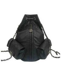 Chanel Black Leder Rucksäcke