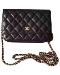 Chanel - Black Pre-owned Wallet On Chain Leather Handbag - Lyst