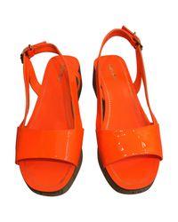 Miu Miu Orange Patent Leather Sandals