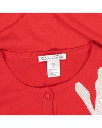 Maglione. Gilet in lana rosso di Oscar de la Renta in Red