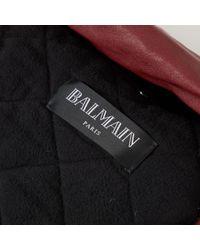 Balmain Leder Blouson in Red für Herren