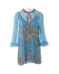 Jenny Packham Blue Seide Mini Kleid