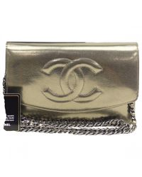 Chanel Metallic Pre-owned Wallet On Chain Leather Crossbody Bag