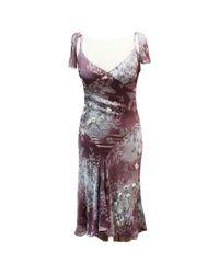 Chloé Purple Seide Midi Kleid