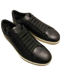 Tom Ford Black Leather Low Trainers for men