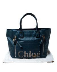 Chloé Blue Leder Shopper