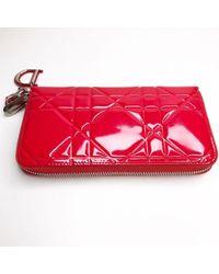 Portafoglio in vernice rosso Lady di Dior in Red