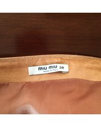 Miu Miu Brown \n Camel Leather Skirt