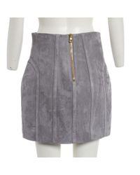 Mini jupe Balmain en coloris Gray