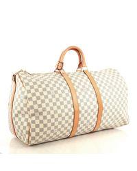 Louis Vuitton Gray Keepall Leinen 48 Std/ Tasche