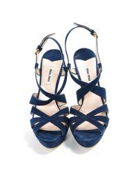 Miu Miu Blue Navy Leather Heels