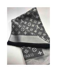 Louis Vuitton Gray Châle Monogram Seide Schals