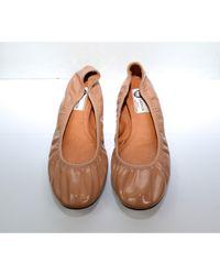 Ballerines \N en Cuir verni Beige Lanvin en coloris Brown