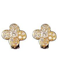 Van Cleef & Arpels White Pre-owned Fleurs Yellow Gold Earrings