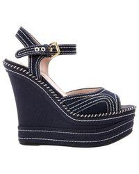 Miu Miu Blue \n Navy Cloth Sandals