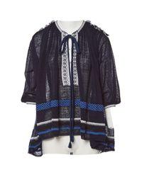 Sonia Rykiel Blue \n Navy Linen Top
