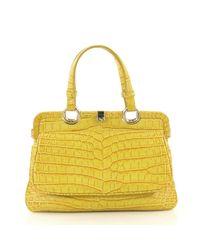 Bottega Veneta Yellow Krokodil Shopper