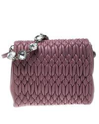 Borsa a mano in pelle rosa Cristal di Miu Miu in Pink