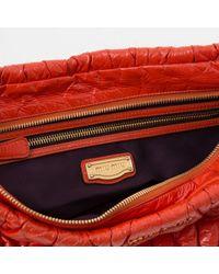Miu Miu Matelassé Orange Patent Leather Clutch Bag