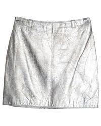 Versace Metallic Pre-owned Leather Mini Skirt