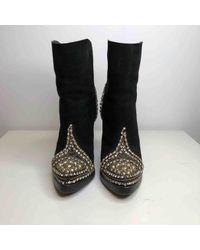 Boots en Suede Noir Balmain en coloris Black