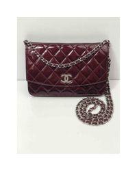 Chanel Purple Wallet On Chain Lackleder Handtaschen