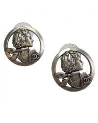 Chanel - Metallic Silver Metal Earrings - Lyst