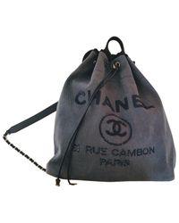 Sac à dos Deauville en Toile Bleu Chanel en coloris Blue