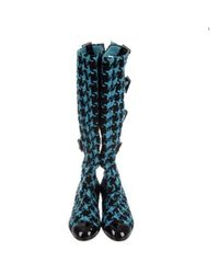 Botas en charol turquesa Chanel de color Blue