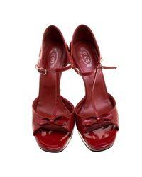 Tod's Red Lackleder Sandalen