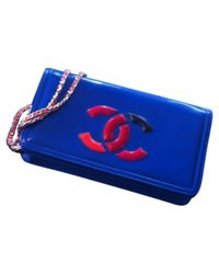 Chanel Pre-owned Blue Patent Leather Handbags