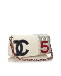 Chanel White Cloth Handbag