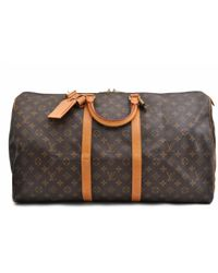 Louis Vuitton Brown Keepall Leinen Reisetaschen