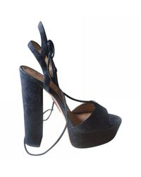 Aquazzura Pre-owned Black Suede Sandals