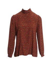 Vanessa Seward Red Multicolour Silk Top