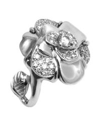 Chanel - Metallic Pre-owned Camélia White Gold Ring - Lyst