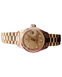 Rolex Metallic Pre-owned Vintage Lady Oyster Perpetual 26mm Gold Yellow Gold Watches