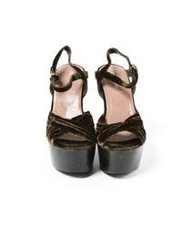 Miu Miu \n Brown Velvet Sandals