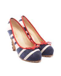Scarpe con tacco in tela multicolore di Chanel in Blue