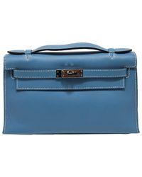 Pochette Kelly Clutch en Cuir Bleu Hermès en coloris Blue