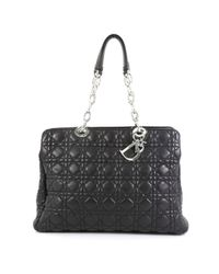 Dior Black Soft Shopping Leder Handtaschen