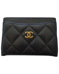 aed962d20d5515 Lyst - Chanel Pre-owned Timeless Leather Card Wallet in Black