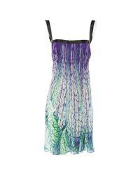 Roberto Cavalli Blue Silk Mini Dress