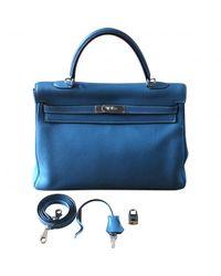 Hermès Blue Kelly Leather Handbag