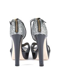 Miu Miu Metallic \n Silver Patent Leather Sandals