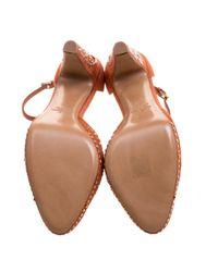 Sandalias en cuero naranja Valentino de color Orange
