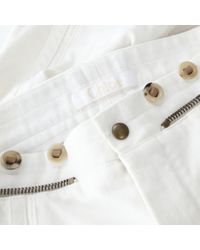 Pantalones en denim - vaquero crudo Chloé de color White