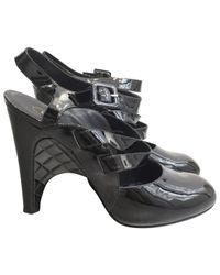 Chanel Black Patent Leather Heels